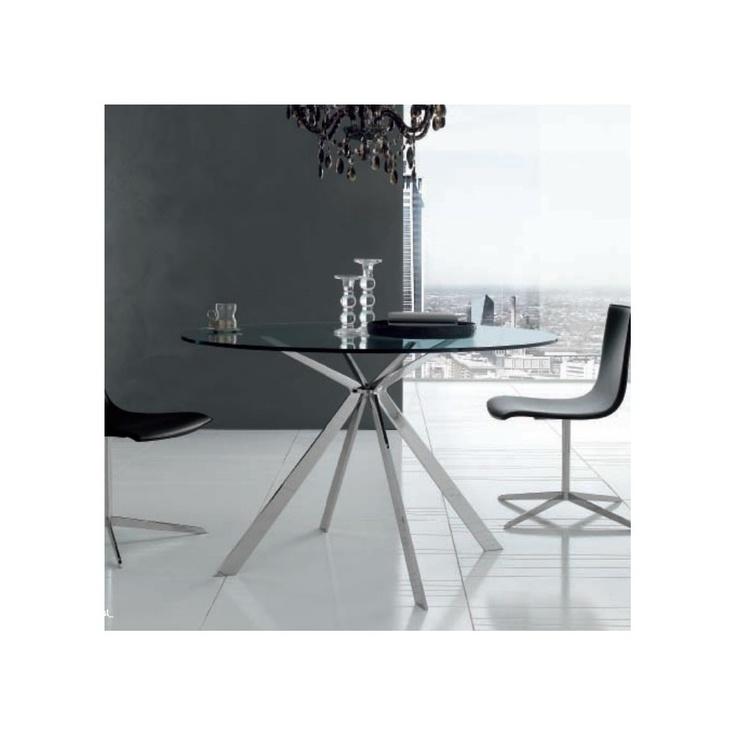 Mesa redonda de alivar modelo cut con tapa de cristal o marmol ideal para cocinas modernas o salones de mucho diseño con una gama alta en mobiliario.