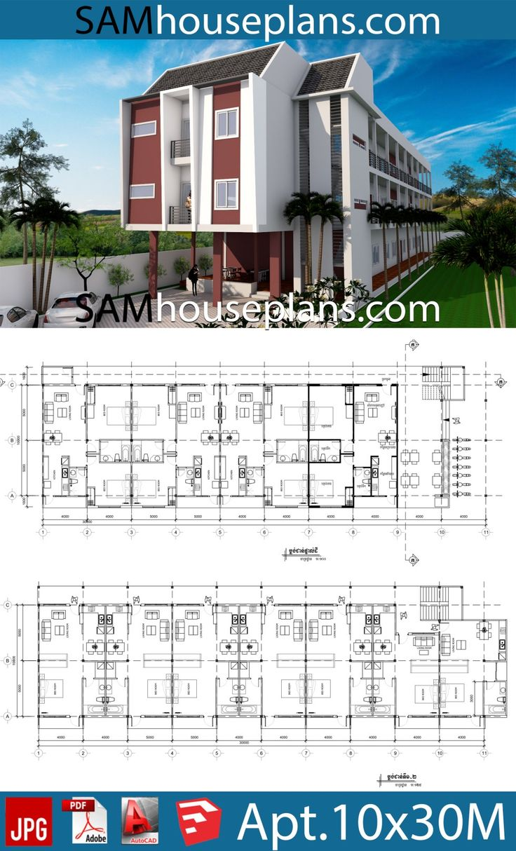 Apartment Plans 10x30 with 18 Units in 2020 (With images ...