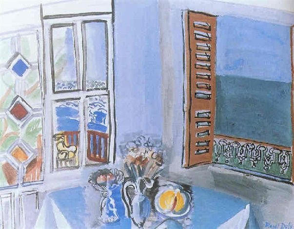 Vue de fen tre raoul dufy gouache and watercolor for Matisse fenetre