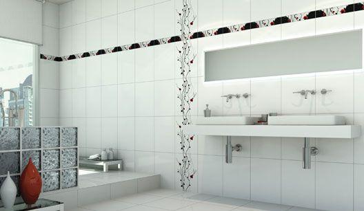 Foto Banheiros Decorados com Faixas  03  Banheiro Decorado FiletesRevestim -> Banheiro Decorado Revestimento