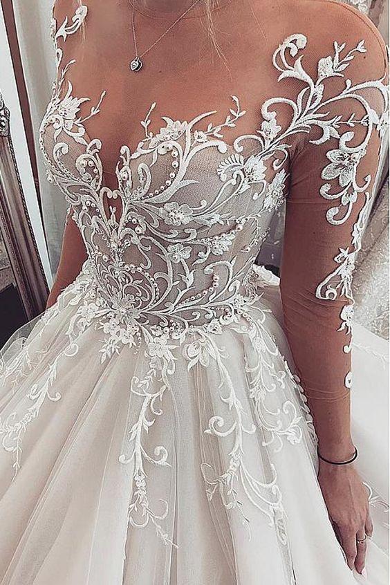 [235.50] Chic Tüll Juwel Ausschnitt Ballkleid Brautkleider Mit Spitze Appliques & Gefrieste gown for wedding