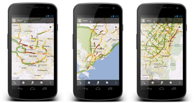 Google Maps has extended live traffic coverage to 130 cities across the US, bringing on demand views of local road conditions the smaller cities dotted across the map. In addition, coverage is now available in several international locations, including Columbia, Costa Rica, and Panama while improved an expanded support is coming to locations throughout Central and South America, Europe, Russia, and Asia. Traffic coverage is available in both the desktop and Android versions of Maps.