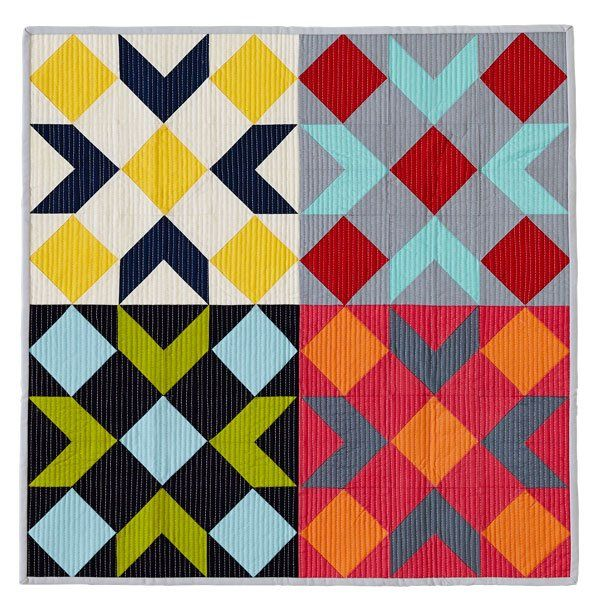 Use solid fabrics and vertical line quilting to add modern flair to a mini that mimics a barn quilt.