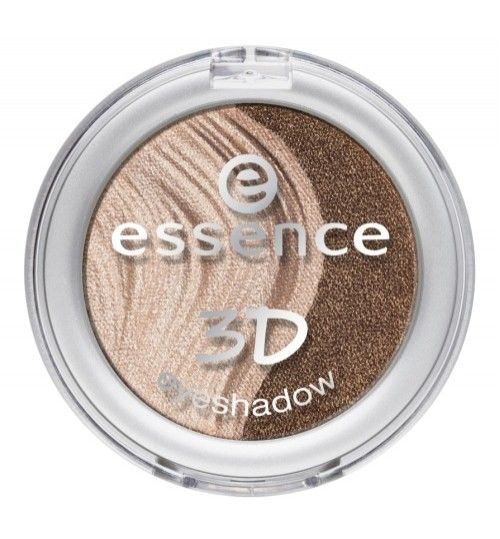 3D Eye Shadow Irresistible Caramel Cream 04------- innovative and unique: the essence duo eyeshadow with a 3d look and a 3d effect is here! the 3mm-high relief design offers an ultimate 3d look and the ultra-light eyeshadow texture creates a cool finish with a 3d effect – from satin to metallic to shimmering – upon application. the excellent color-dispersion and high coverage leave nothing to be desired. applied moist, the 3d duo eyeshadow guarantees even more intense results.