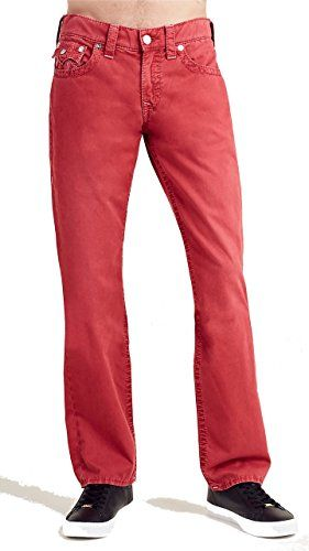 True Religion Men's Straight Leg Relaxed Fit Big T w/ Flap Pants in Ruby Red (30, Ruby Red)