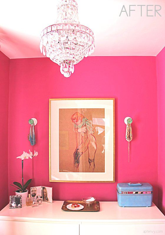 Dressing Room With Raspberry Pink Fuchsia Walls Crystal