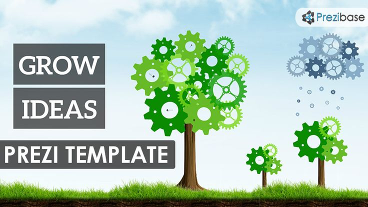 Prezi Template with the concept of Growing Ideas.  Animated cogs forming tree shapes and a cloud with water drops.  Zoom into the elements are present your ideas.  All separated elements, rearrange the animate cogs and create more trees.  A good template for presentations related with green energy, nature, technology, innovation…