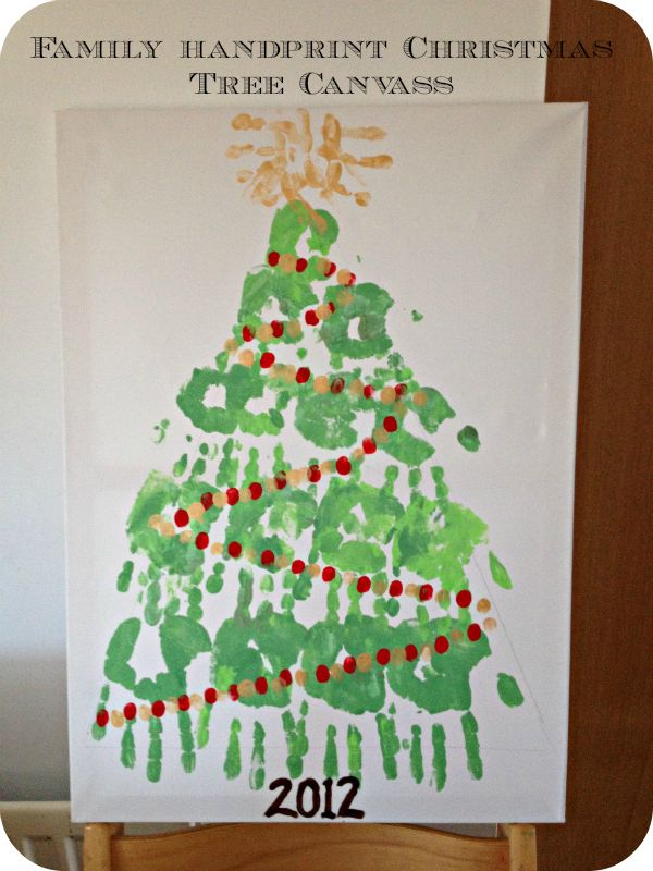 Christmas Crafts For Family Part - 46: Cute Christmas Craft Activity For The Whole Family: Hand Print Christmas  Tree Canvass