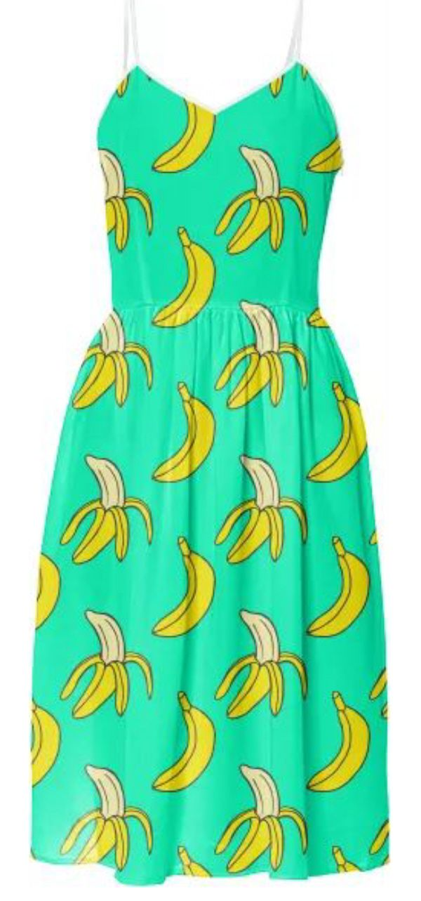 Bananas Women's Midi Dress - cute aqua green mid-length spaghetti strap sundress with fun yellow banana print.  Unique tropical fruit design is perfect for a vacation, bbq picnic or summer party. Funny food humor women's fashion - classic dress with edgy vibe - perfect for foodie or banana lover.  This is an affiliate link.