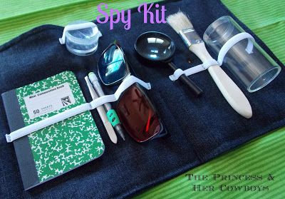 """Create a DIY Spy Kit for a kid! Direct link to original post. Instructions are not very in depth, nor does she provide sources for some of the items in the kit, but it's a good starting point. Could also easily be called a """"Kid's CSI Kit""""."""
