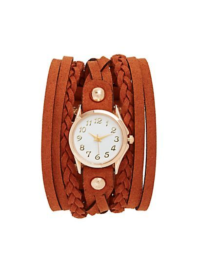 Faux Suede Braided Wrap Watch Bracelet | rue21