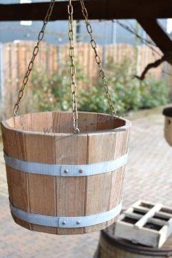 Hangbakje met ketting ongelakt 17x25 cm