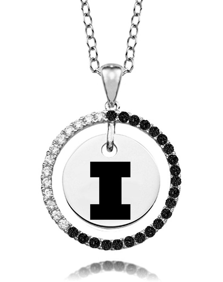 """Illinois Fighting Illini Black and White Cz Circle Necklace. Officially Licensed. Chain Length is 16"""" with a 2"""" Extender. Number of Stones: 35. Charm Size is 18mm (size of a penny). """"the indicia featured on this product is a protected trademark owned by the respective sorority""""."""