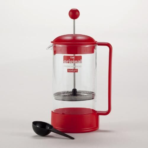 One of my favorite discoveries at WorldMarket.com: Red Bodum Brazil French Press Coffee Maker