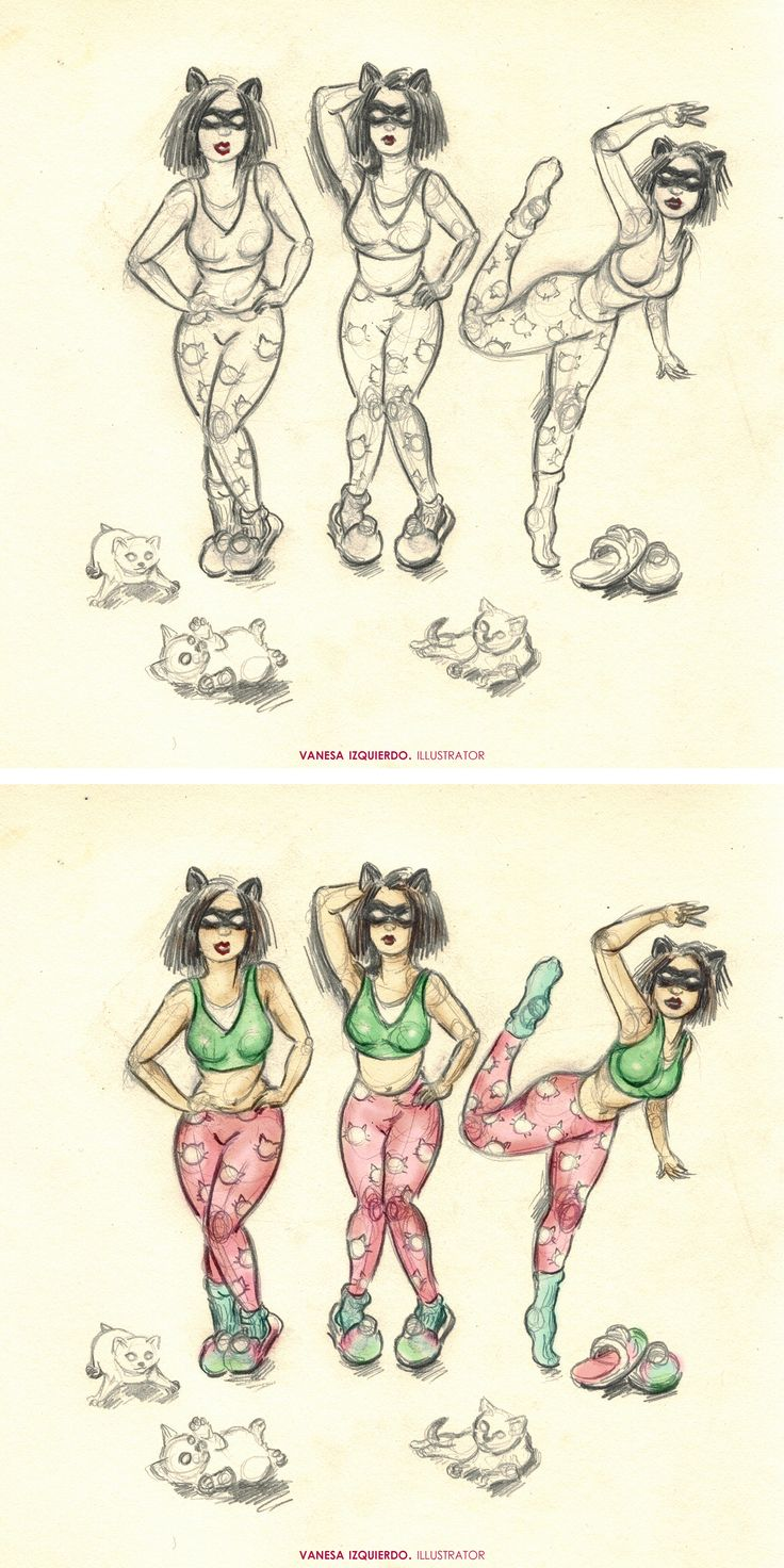 El pijama de Catwoman. #catwoman #superhero #heroine #drawing #illustration #sketch #sketchbook #cute #cat #pink #lovely