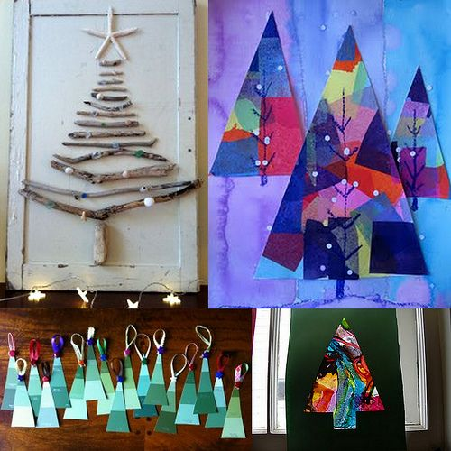 Christmas tree crafts, I love the twigs and starfish one!: Crafts For Kids, Trees Art, Xmas Trees, Christmas Crafts, Crafts Ideas, Diy Crafts, Christmas Activities, Christmas Trees Crafts, Wall Ideas