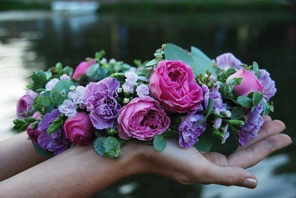 венок на голову из живых цветов - Флористика