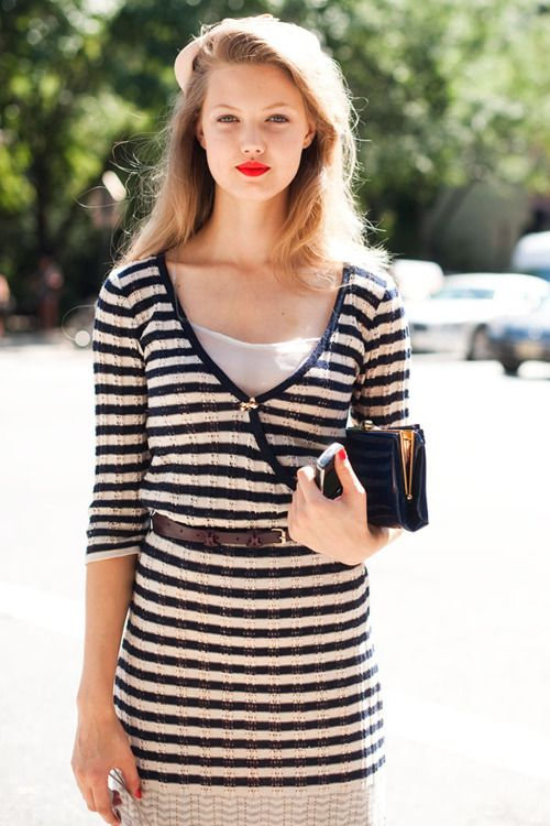 stripes.Fashion Weeks, Lindsey Wixson, Style, Red Nails, Red Lips, New York Fashion, Stripes, Lips Colors, Lindseywixson