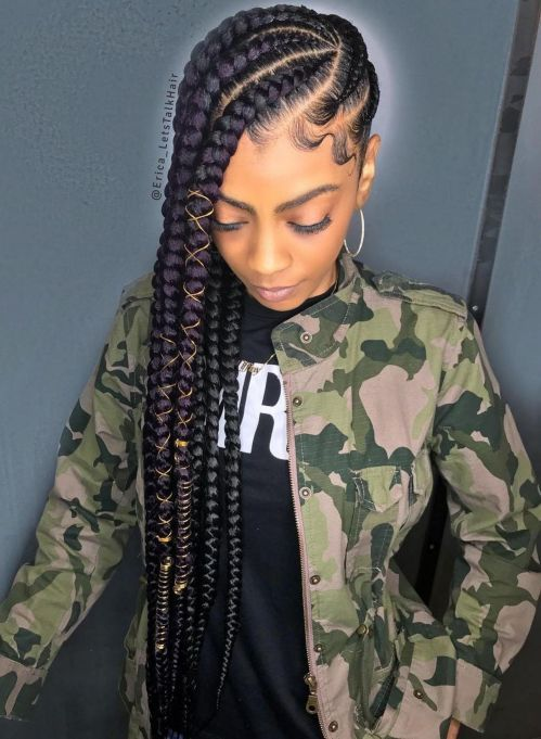 35 Goddess Braids Ideas For Ravishing Natural Hairstyles More from my site cornrow braided hairstyles for natural hair: 50 Catchy Cornrow Braids Hairstyle… 25 Ideas braids hairstyles for black women cornrows buns – 2019 Braided Hairstyles For Black Women Black Girl Braids, Braids For Black Hair, Girls Braids, Braided Hairstyles For Black Women Cornrows, Braids With Natural Hair, Natural Hair Braid Styles, Braids For Black Women Box, Purple Braids, Natural Hair Styles For Black Women