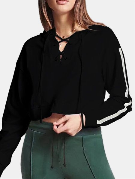 Active Crossed Front Design Pullover Sports Hoodies in Black