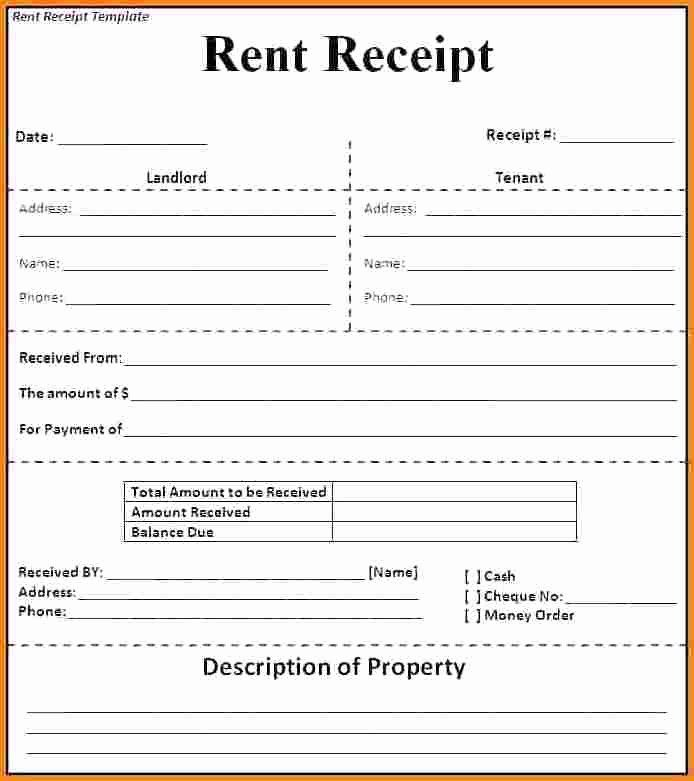 Printable Rent Receipt Template In 2020 Receipt Template