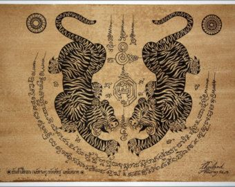 Arte tradicional tailandés de talismán tigre salto por AmornGallery