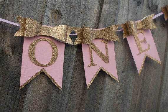 Beautiful Pink & Gold Bow birthday banner. Can be done Silver with pink, Purple or any other colour of your choice. Its been entirely handmade from
