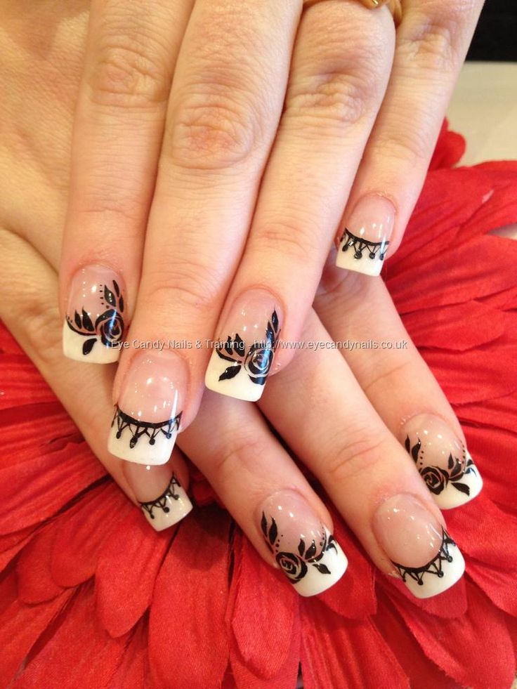 White French with black rose freehand nail art on acrylic nails