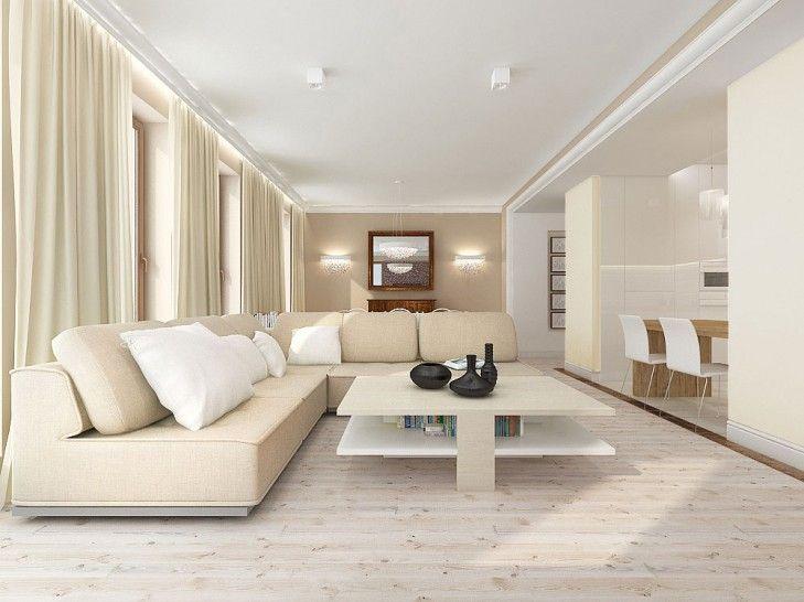 Projekt wnętrz salonu w stonowanych beżach i bielach – Tissu. Salon zaprojektowano w kolorach ziemi, który połączony został z otwartą kuchnią utrzymaną w bieli. Całość w jasnych tonacjach. Drewniane wstawki ożywiają i urozmaicają wnętrze salonu. http://www.tissu.com.pl/zdjecia/274