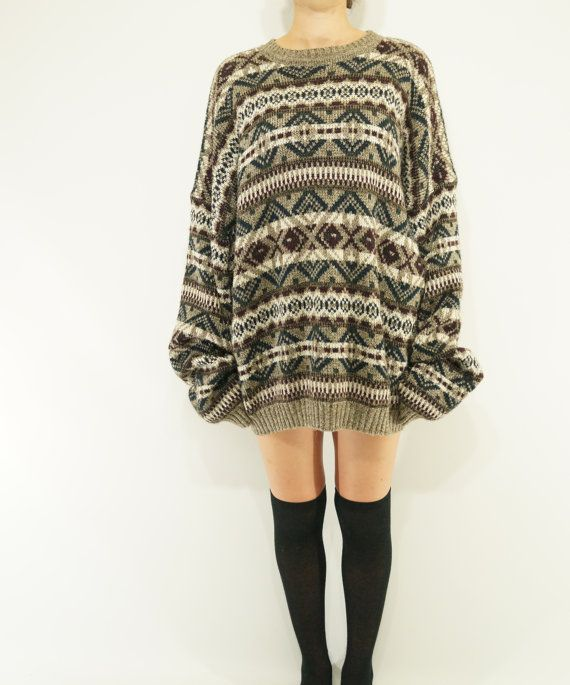 vintage oversize sweater 2XL 100% acrylic by VintageFad on Etsy