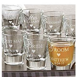 Love these bridal party shot glasses