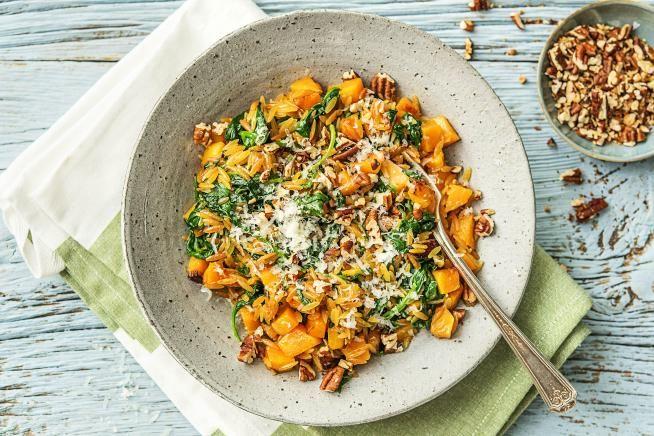 Vegetarische recepten - Orzo met pompoen, spinaze en grana padano