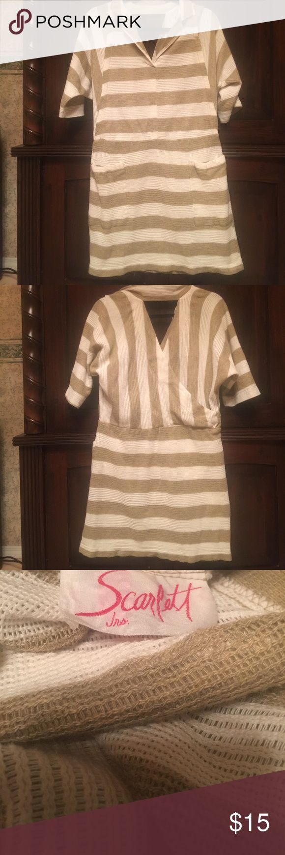 Vintage Scarlett striped dress. Cute and comfy Vintage Scarlett dress. It has two front pockets . V- neck and 3/4  sleeves. Machine washable. Cute and comfy. Scarlett Dresses