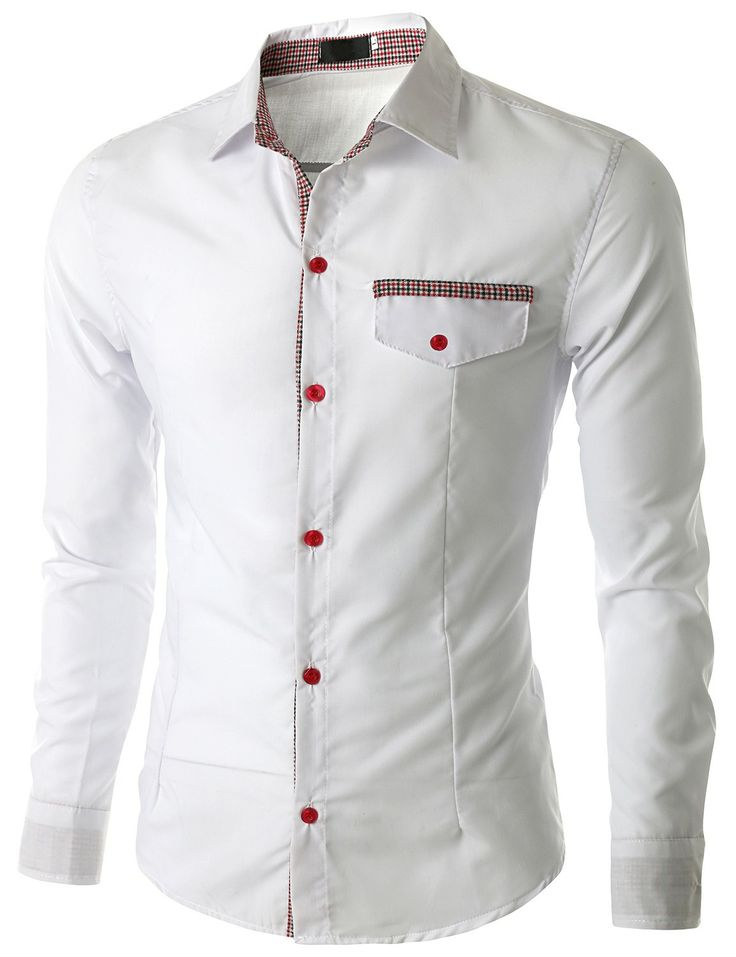 Doublju Men's Casual Button Down Shirt with Plackit Detail (CMTSTL03) #doublju