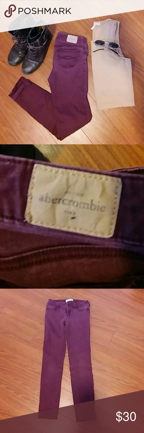 Abercrombie jeans These marroon colored abercrombie kids jeans are a great pop of color to any outfit. They are slightly worn in but good condition. Size 14 slim. Ankle length and a tight fit. Abercrombie & Fitch Jeans Skinny