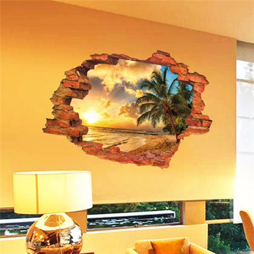 Free shipping:3D Broken Wall Sunset Scenery Seascape Island Coconut Trees Household Adornment Can Remove The Wall Stickers * Detailed information can be found by clicking on the image
