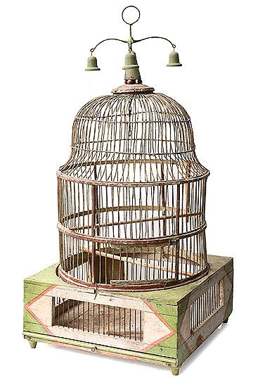 French 18th-Century Period Domed Birdcage... With bells on top!