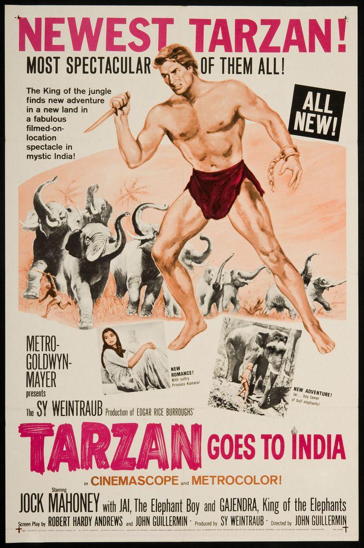 1962 John Guillermin's 'Tarzan Goes To India' Retro Movie Poster Art - http://retrographik.com/1962-john-guillermins-tarzan-goes-to-india-retro-movie-poster-art/ - classic, high resolution, India, movie, Poster, vintage