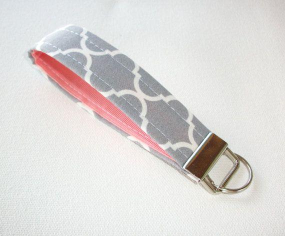 Key FOB / KeyChain / Wristlet   soft  gray white by Laa766 on Etsy  preppy / fabric / cute / patterns / key chain / office, nurse, student id, badge / key leash / gifts / key ring