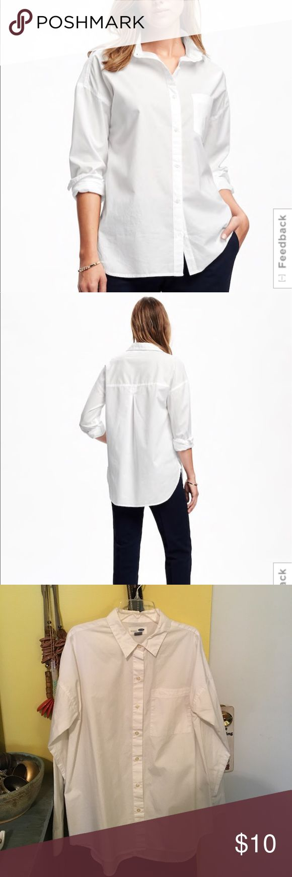 Old Navy Boyfriend White Shirt for Women M Old Navy Boyfriend White Shirt for Women. Size Medium. Color Bright White. No flaws. Rarely worn. Old Navy Tops Button Down Shirts