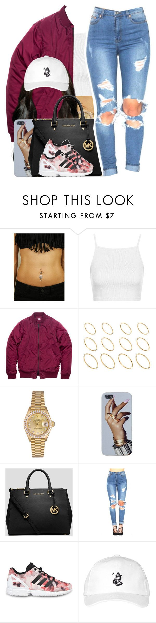 """""""Bryson Tiller / Overtime"""" by nasiaamiraaa ❤ liked on Polyvore featuring Topshop, ASOS, Rolex, MICHAEL Michael Kors, adidas Originals, October's Very Own and NanaOutfits"""
