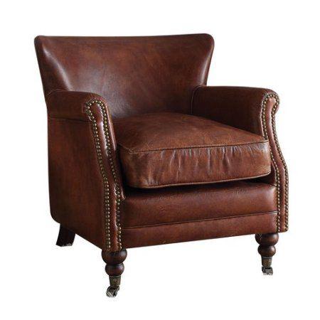 Acme Leeds Accent Chair, Vintage Dark Brown Top Grain Leather