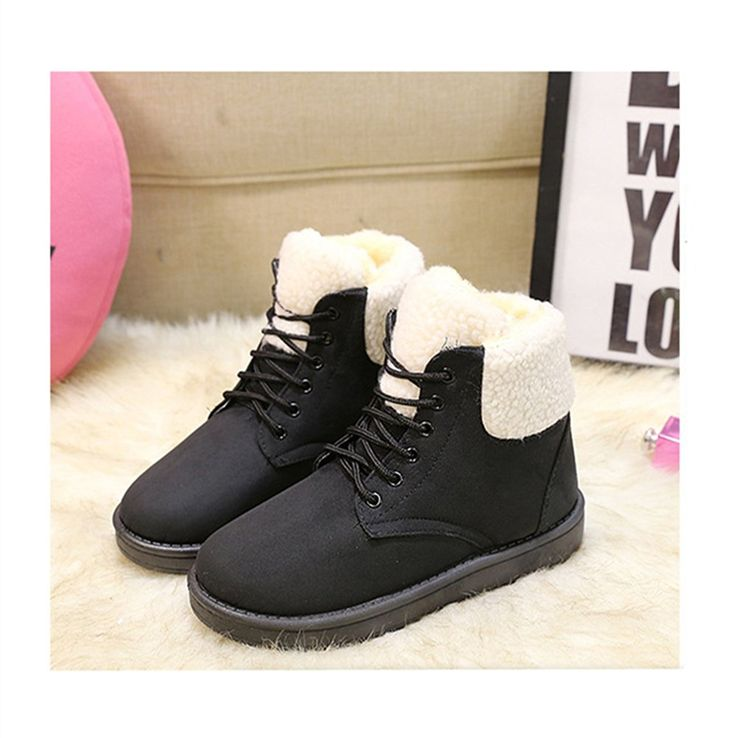 Huafeiwude Womens Casual Lace Warm Fully Fur Winter Ankle Snow Boots ** Can't believe it's available, see it now : Desert boots