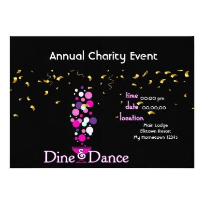 Dine and Dance Charity Event Invitaion Card - invitations custom unique diy personalize occasions