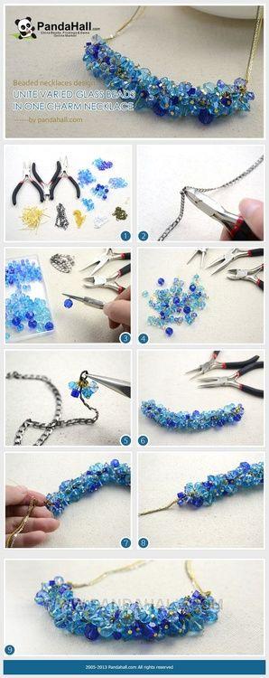 collar con perlas en celeste y azul