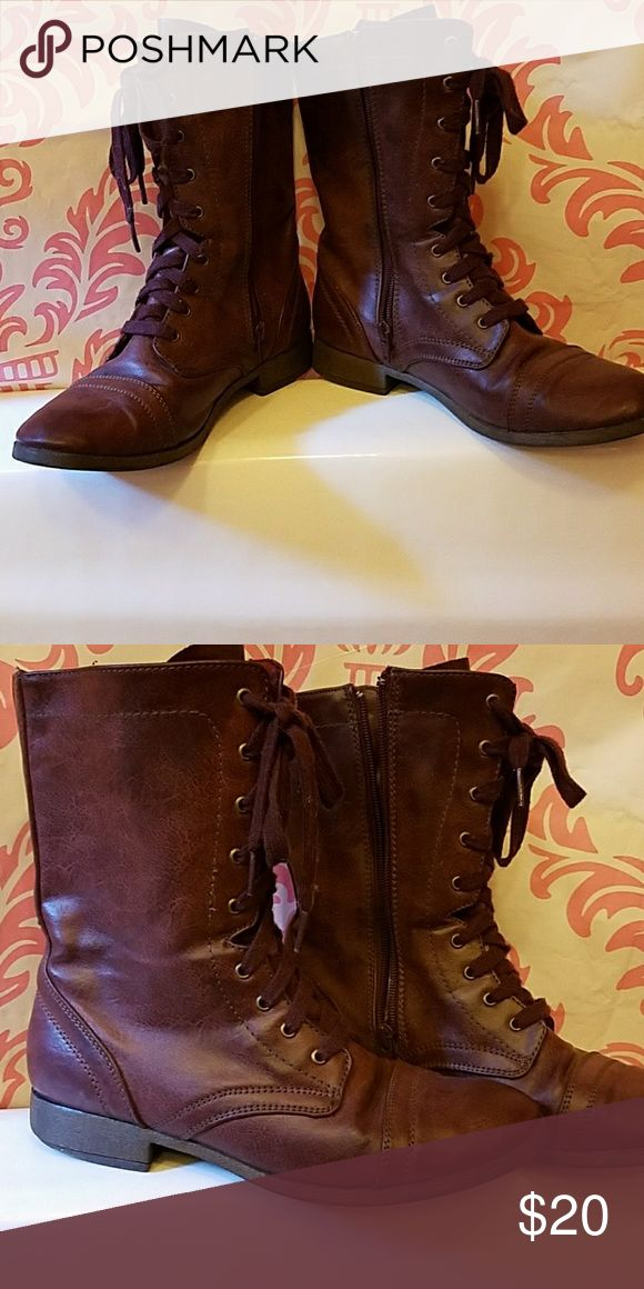 Boots Slightly used wine colored combat boot style shoes Shoes Combat & Moto Boots