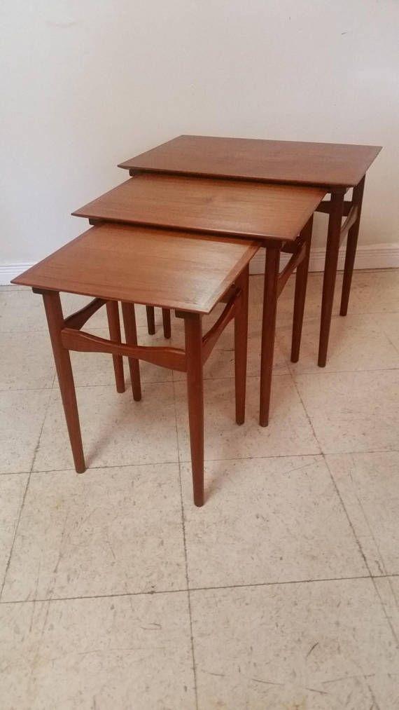 Danish Teak Nesting Tables by Fabian mid century modern