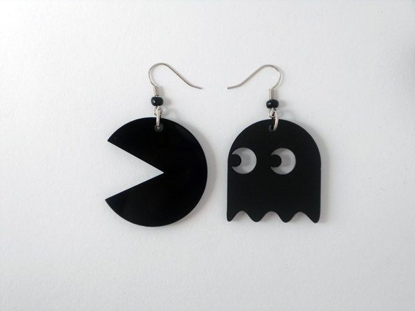 Pac-man earrings- Black laser cut plexiglass Pac-man figures with black beads. $15,00, via Etsy.