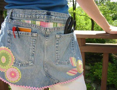 No picture available, but I wanted to remember this!  Things to do with jeans:  Make a pocket organizer. Cut off the ends of pant legs and stitch the cut side closed to make a pocket. Arrange six of these pockets on a sturdy piece of poster board and hang from a door for a handy organizer. Or, attach loops of demin to the pockets and hang from a bar.