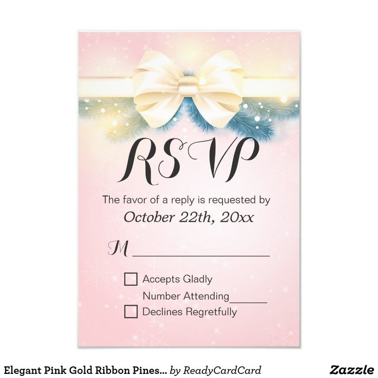 Elegant Pink Gold Ribbon Pines Floral Wedding RSVP Card Elegant Vintage Modern Chic Pink and Gold Ribbon with Botanical Berry and Pines Floral Wedding RSVP Reply Card. A Perfect Design for your Big Day. All text style, colors, sizes can be modified to fit your needs.